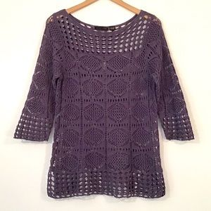 Jeanne Pierre - Purple Open Weave Sweater